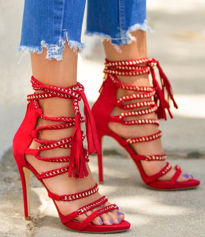 Senhoras Na Moda Cadeia Embellished Vestido de Sandálias de Dedo Aberto Borla Sandálias Gladiador Vermelho Franja Preta Com Tiras Partido Sapatos Dropship - 4