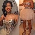 2016 Luxury Party Dress With Crystals Sweetheart Above Knee Ruffles Lace Up Vestidos De Fiestas Cortos