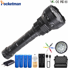 80000LM High Power LED Flashlight 8800mA Battery 15 x XM-T6 XHP50 5 Modes Lanterna led linternas Torch Waterproof  18650 26650 цены
