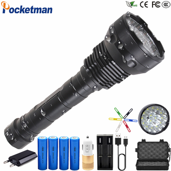Most Powerful 15 x XM-T6 XHP50 LED Flashlight 8800mA Battery  5 Modes Lanterna led linternas Torch Waterproof  18650 26650