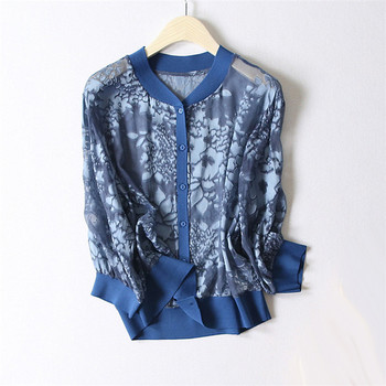 100%silk spliced women fashion printed short cardigan coats summer outwears thin jackets 2color one&over size