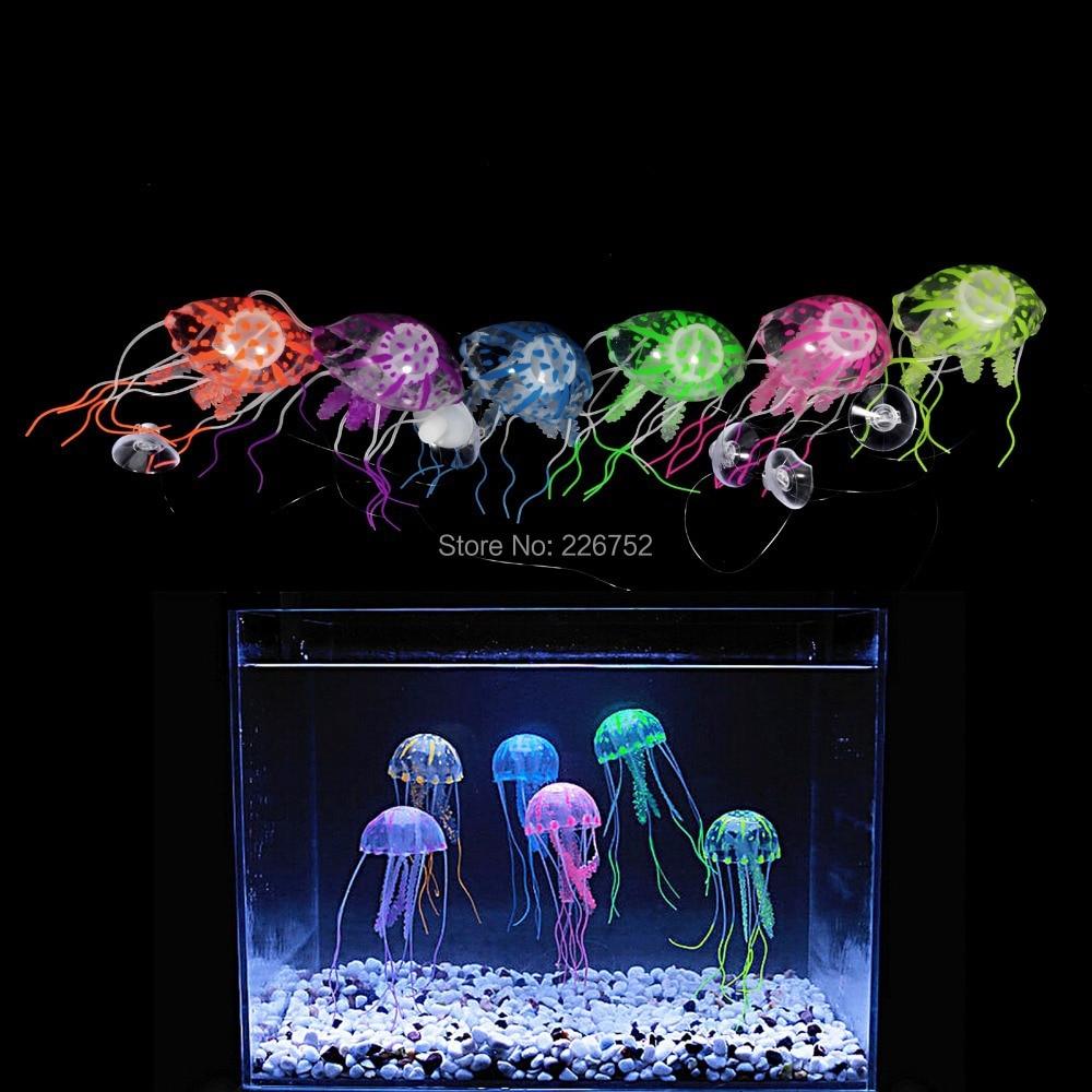 5pcs tank ornament swim fluorescence effect aquarium for Aquarium jellyfish decoration