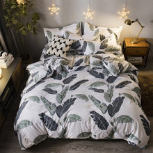 Plant leaves Pattern Duvet Cover Bedding Set Double Queen King Size Quilt Comforter Pillow Case Sheet Bed Linens 24(China)