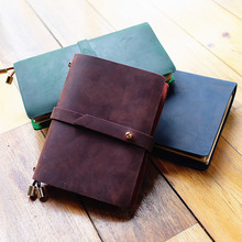 Joyful Spirit Real Genuine Cowhide Leather Travel Journal Business Notebook Study Diary Kraft White Grid Papers