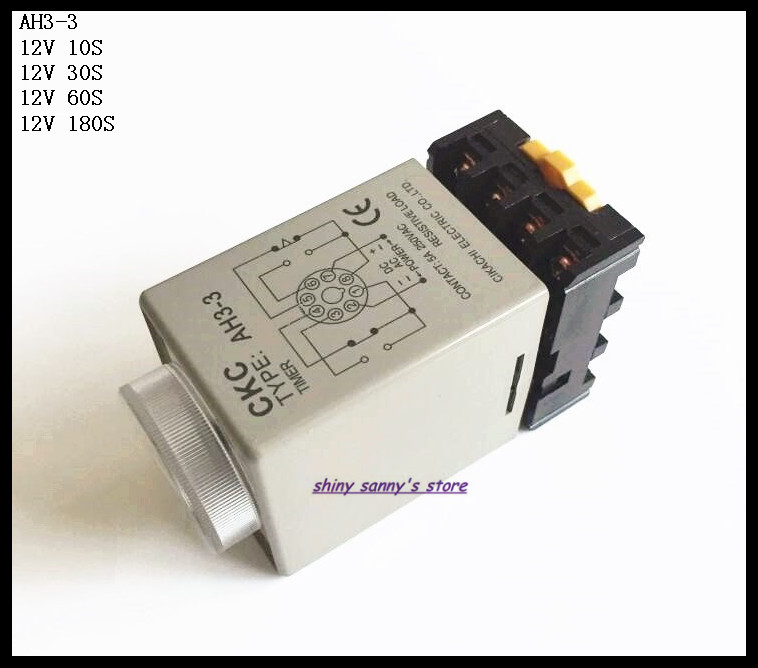 2 Sets/Lot AH3-3 DC12V 10S/30S/60S/180S Power On Delay Timer Time Relay 12VDC 8 Pins With PF083A Socket Base Brand New 2 sets lot