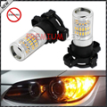 2pcs Amber Yellow Error Free 48-SMD PY24W 5200s LED Bulbs w/ Reflector Mirror Design For BMW Audi Front Turn Signal Lights