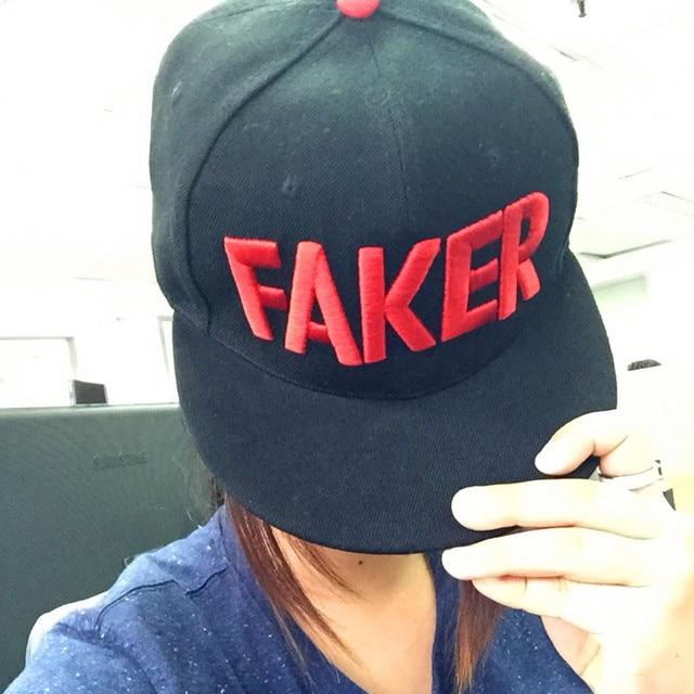 S6 OGN SKT T1 Faker Team Basket Hat Red With Black HipHop-in Visors ... 18cc083c7b0