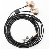 Urizons Black PU Leather Braided Bracelet earphones headsets With mic for Iphone Addroid fone de ouvido Earbud as Xmas Gift
