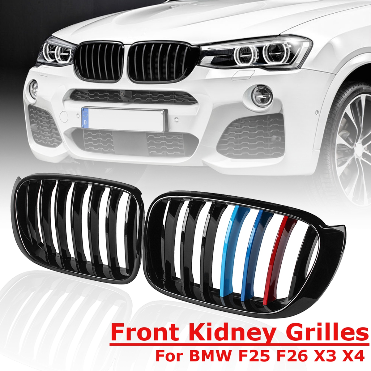 1 Pair 3 Colors for BMW X3 F25 F26 2014 2015 2016 2017 for Front Bumper Sport Kidney Grill Grille Gloss Black Replacement Racing x3m x4m style durable abs front hood grill for 2014 2015 2016 bmw x4 f26 & x3 f25 lci in m color great fitment bumper grille