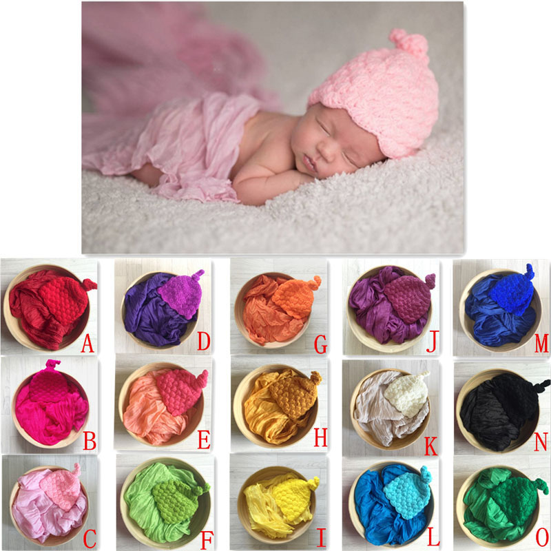 15 colors Newborn Photography Props Studio Basket Filler Knitted Handwoven Beanies  Baby Shower Gift ZQY020