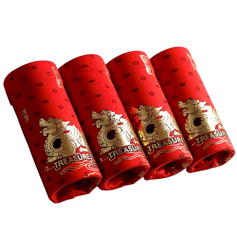 Red Underwear Sexy Man Chinese Boxer-Shorts Mens Soft Mascot Classic-Style Lucky New-Year