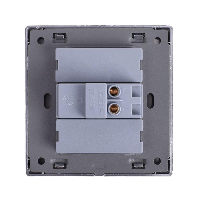 Image 5 - Coswall 1 عصابة 1 طريقة الفاخرة LED مفتاح الإضاءة على/قبالة الجدار التبديل Interruptor نحى الفضة لوحة 10A AC 110 ~ 250V1 gangpush button wallwall light panel -