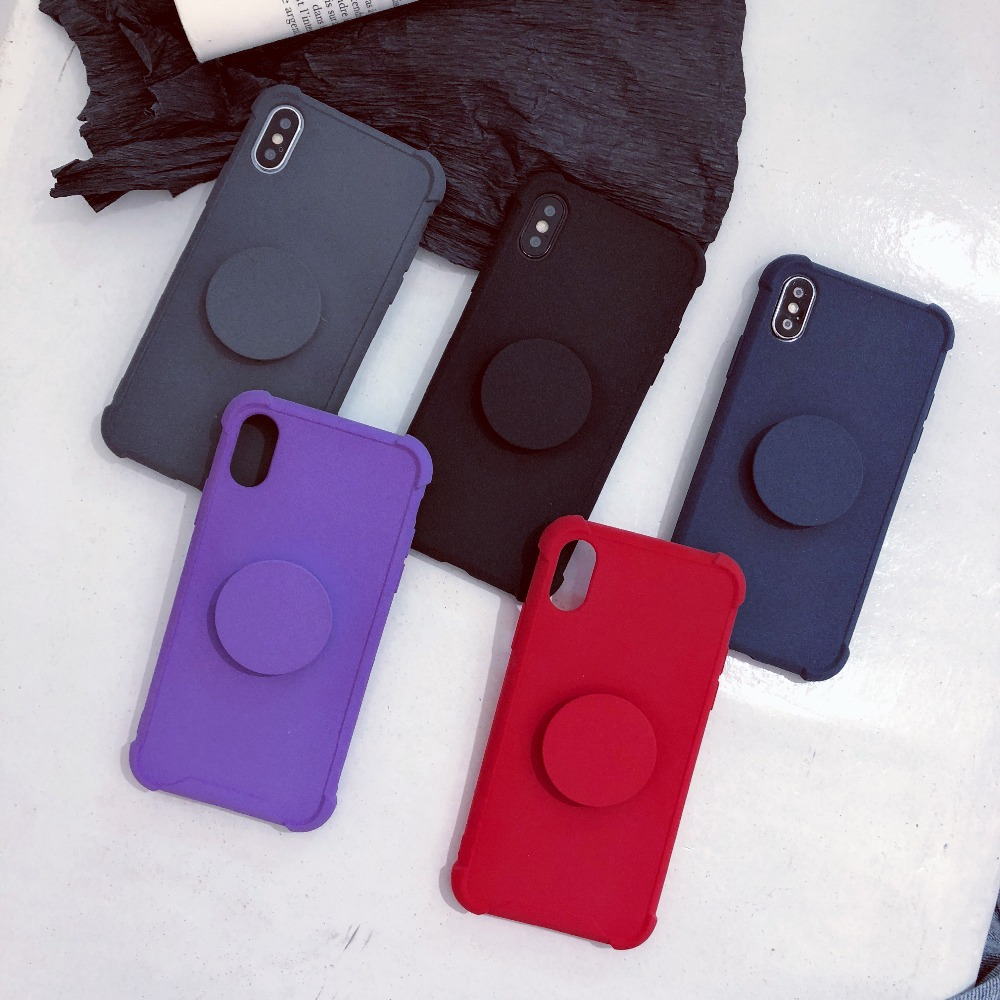 Pure Color Air Bag Cell Phone Bracket Soft TPU phone Case For iPhone XS XR  XS b4e7818a7330