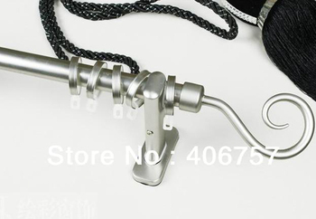 New metal hook design finial eco plate process quality 22mm 7/8-IN dia.0.8mmT single curtain rod +Znic brackets+Stainless rings