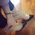 2016 Nova Marca Elegante Low-salto alto Sapatos de Mulher Apontou Couro Real Com Três Tiras Envolto Calcanhar Partido E Diárias sapatos