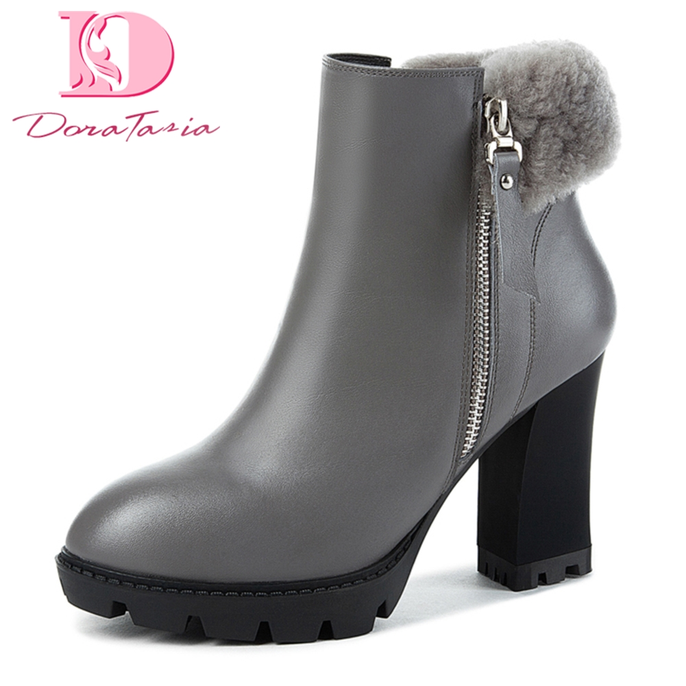 Doratasia 2018 Cow Leather genuine leather sexy winter Zip Up Ankle Boots Woman Chunky High Heels party Women Boots Shoes Woman doratasia genuine leather zip up platform elegant ankle boots sexy thin high heels party wedding boots woman shoes women