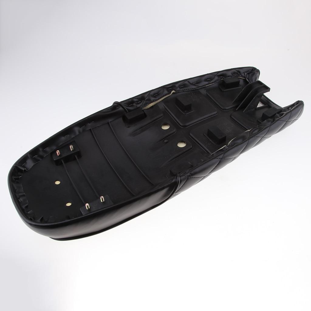 Black PU Leather Motorcycle Cafe Racer Seat Flat Saddle 63cm / 24.8
