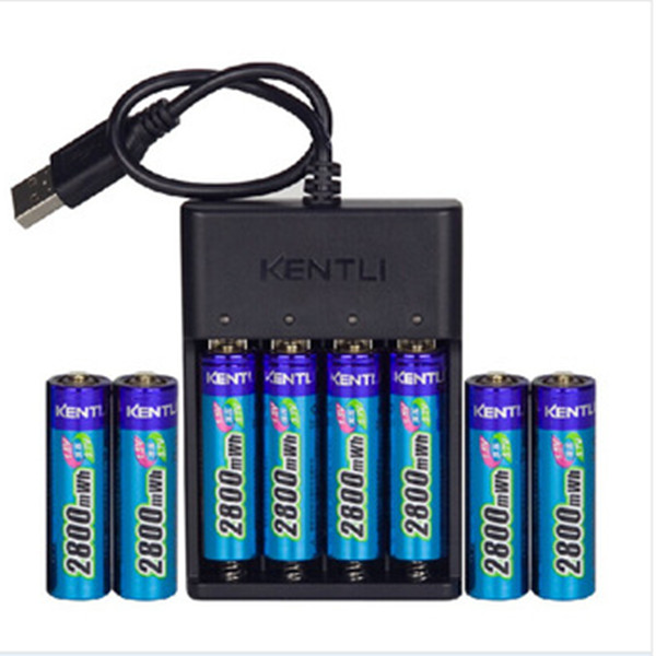 ФОТО KENTLI 8pcs 1.5v 2800mWh Li-polymer li-ion polymer lithium rechargeable AA battery + 4 slots USB smart Charger