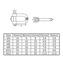 3PCS M8 D Ring Shackle 304 Stainless Steel Anchor Shackle Screw Pin for Heavy Duty Construction,Outdoor Survival Rope
