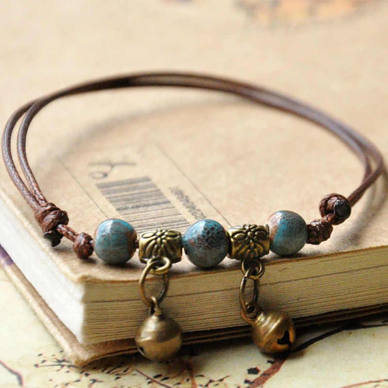 Женские очаровательные браслеты керамический браслет из бусин браслеты плетеные веревки браслеты регулируемые ювелирные изделия серебряный бронзовый колокольчик ножной браслет с цепочкой