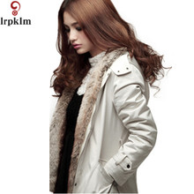 2017 New Winter Ladies Fashion Long Thick Coat Hooded Super Warm Coat Removable Interior Liner Topcoat manteau femme  LZ0016