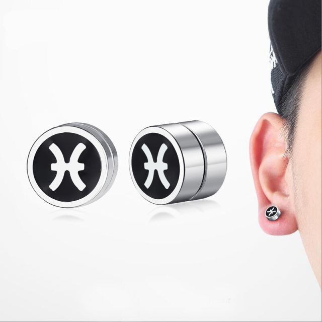 Men S Pisces Magnetic Stud Earrings For Boy Twelve Constellations Rounded Ear Clip Studs Earing Non