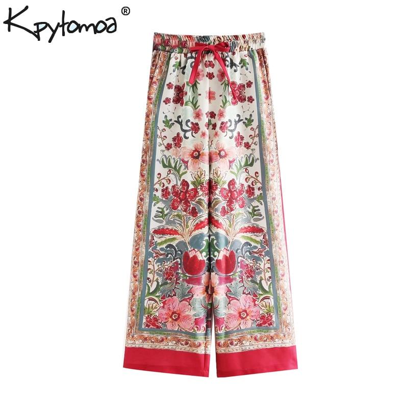 Vintage Floral Print   Wide     Leg     Pants   Women 2019 Fashion Drawstring Elastic Waist Pockets Loose Trousers Casual Pantalones Mujer