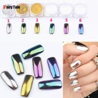 6pcs Pack Mirror Powder Pigment Nail Glitter Nail Art Chrome Effect Magic Mirror Powder For Nail