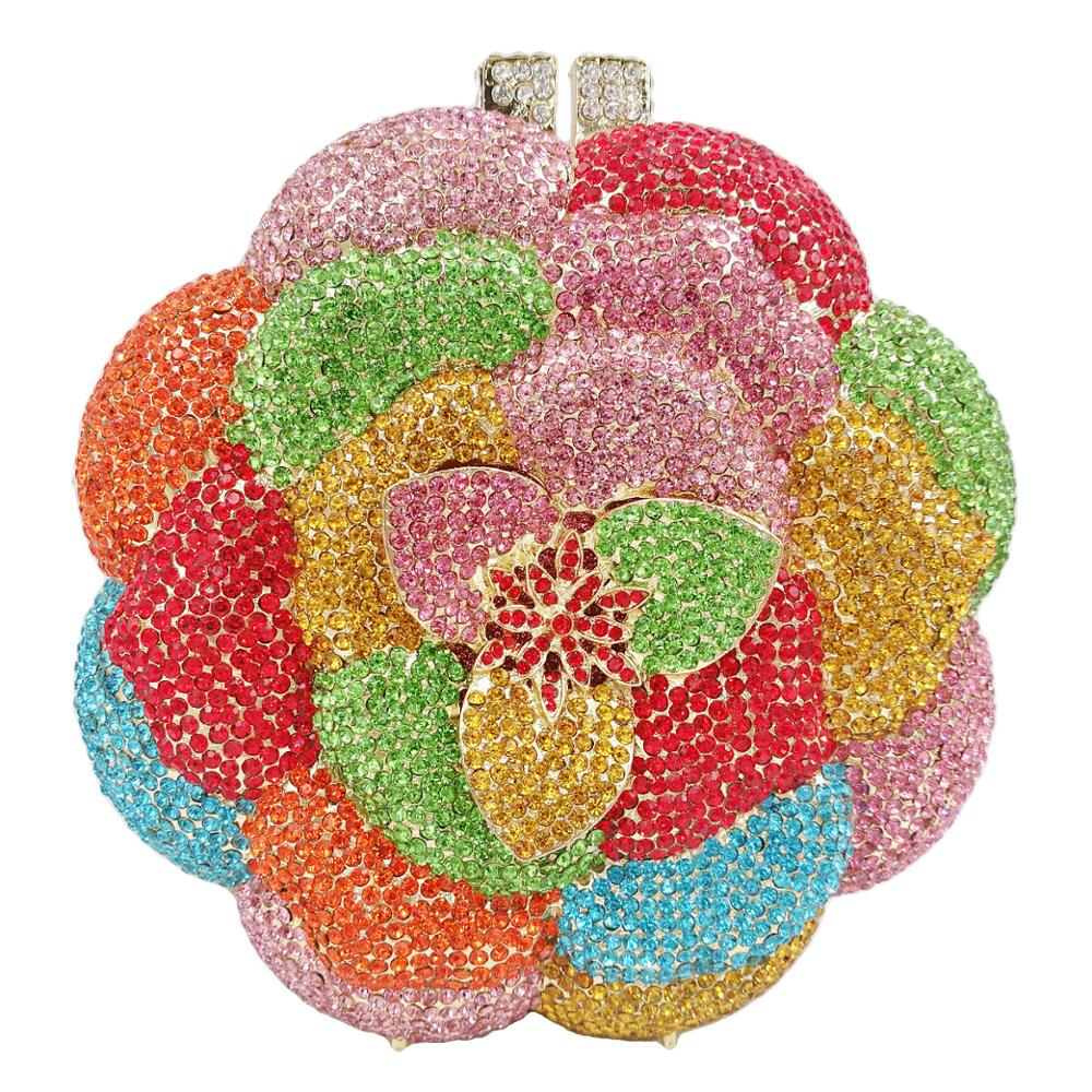 Luxury Orange Colorful Flower Crystal Evening Bags Day Clutches Wedding Purse Bridal Clutch Bags Ladies Dinner