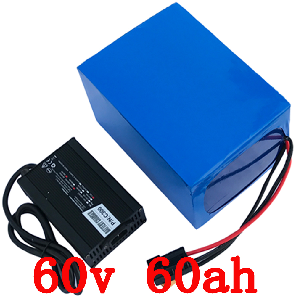 60V 60Ah 3000W electric bike battery  lithium Battery with 50A BMS and 67.2v 5A Charger  Free shipping free customs taxes and shipping high quality lithium battery 1200w 24v 100ah for solar power ups with 5a fast charger and bms