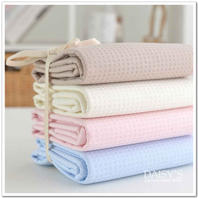 50cm x120cm pink blue waffle cotton Fabri, DIY Bathrobes Handmade Patchwork Clothing Suit for Soft Natural Cotton Agent 240g/m ...