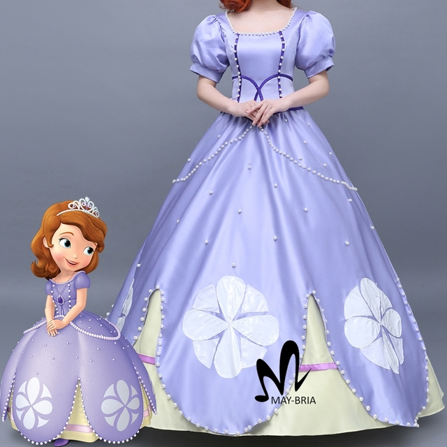Newest Fancy Halloween costumes for adult women Sofia the First Princess Sofia cosplay costume purple Sofia : princess sofia costume for adults  - Germanpascual.Com