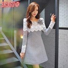 New Women dress Upset Lace Full Sleeve Slim Big Pendulum Space Cotton Dresses Light Grey 3067