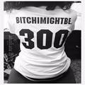 Bitchimightbe 300 Funny T-Shirt Mujeres camiseta de Béisbol camiseta Graphic tees Tops Blanco y Negro Moda Unisex F10285
