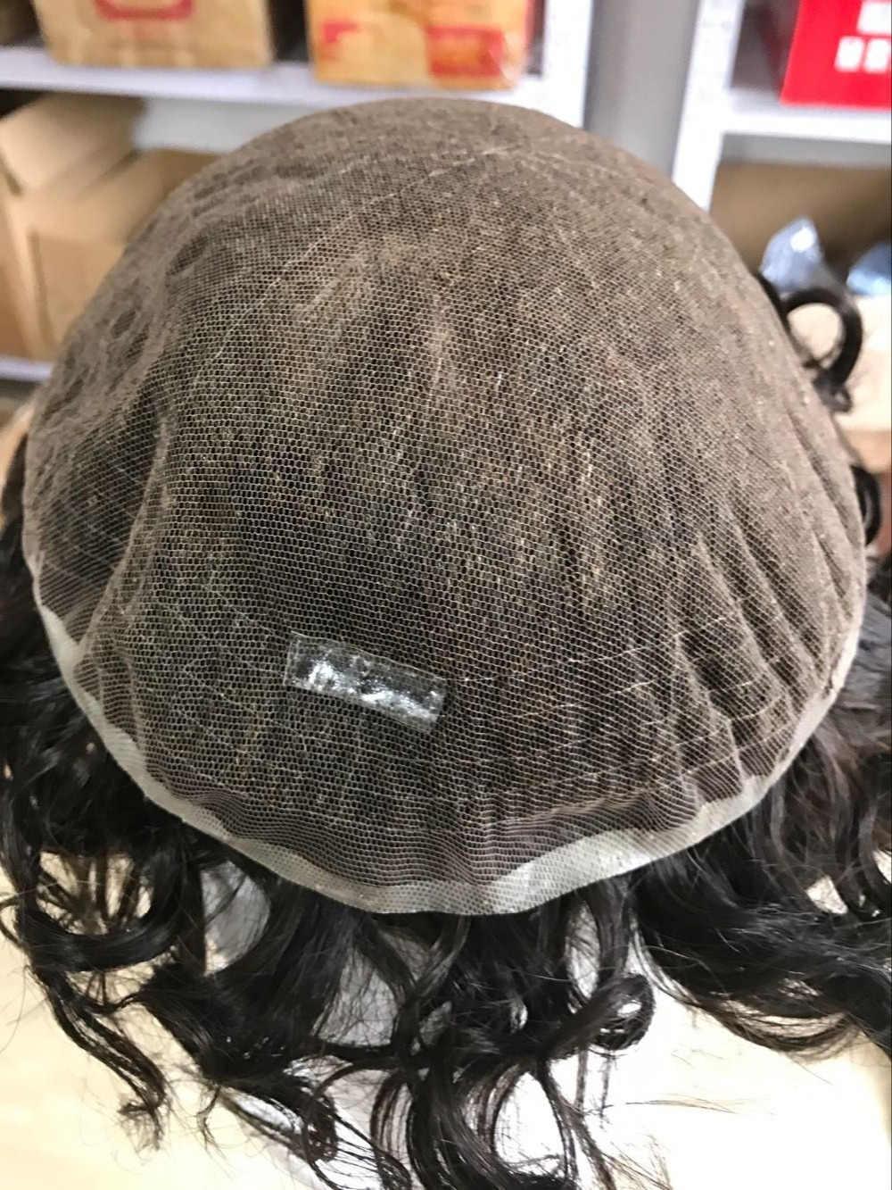 100% французский кружевной парик человеческих волос для мужчин 2,5 см волна, системы замещения волос, мужской накладки из искусственных волос, украшение для волос Бесплатная доставка