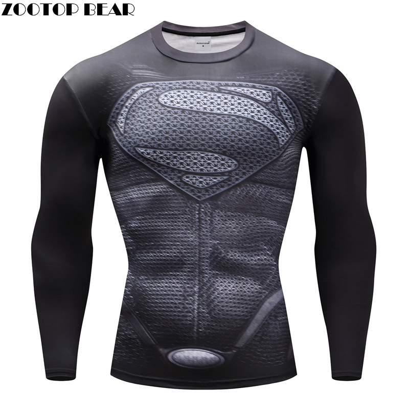 Superhero T-shirts Men Compression T-shirts Bodybuilding Fitness Tops Tees Superman Batman Iron Man Cosplay Brand Crossfit