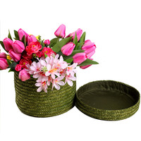 Creative DIY Flower Basket With Lid Multi Color Flowers Bouquet Gift Packging Round Grass Weaving Boxes