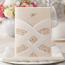 100pcs/lot Vertical Laser Cut White Hollow Flora Wedding Invitation Pearl Pattern with insert Customizable CW060