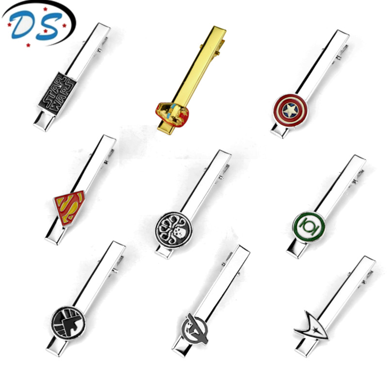 dongsheng jewelry Men's Tie clip Superheroes Superman Iron Man Movie Cuff Tie pins Fashion accessories Tie clip&Cufflinks off shoulder tie cuff solid sweatshirt