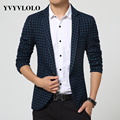 YVYVLOLO  Plaid Blazer Men Costume Homme Coat Masculino Brand Clothing Fashion Suit Blazers Dress 2016 Veste De Costume Blazer