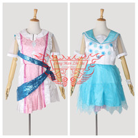LoveLive!Future Style Ayase Eli Stage Dress Halloween Uniform Outfit 2 Pieces/Set Dress*2+Belt+Headdress Custom-made