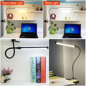 Image 4 - Clip Houder Usb Powered Led Bureaulamp Flexibele Zwanenhals Reading Tafellamp Dimbare Oogbescherming Nachtlampje Voor Studie Office