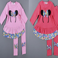 2016 Autumn Children Set Cute Hair mouse Pattern Long-Sleeved T-Shirt+Bottoming Trousers Girls Set Fashion Children's Clothing
