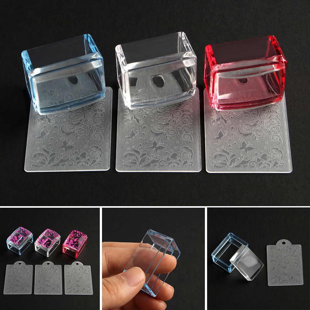 1 ชุดใหม่ 3 สี Clear Jelly Stamper ใสเล็บแสตมป์แสตมป์ Scraper ภาษาโปลิชคำพิมพ์เล็บ Stamper เครื่องมือ DIY prin