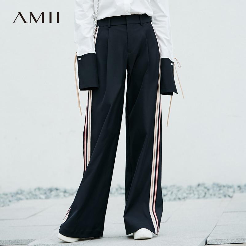 Amii Minimalist 2019 Autumn Chic Loose Wide Leg Pants Striped Color Crash Wide Leg Pants