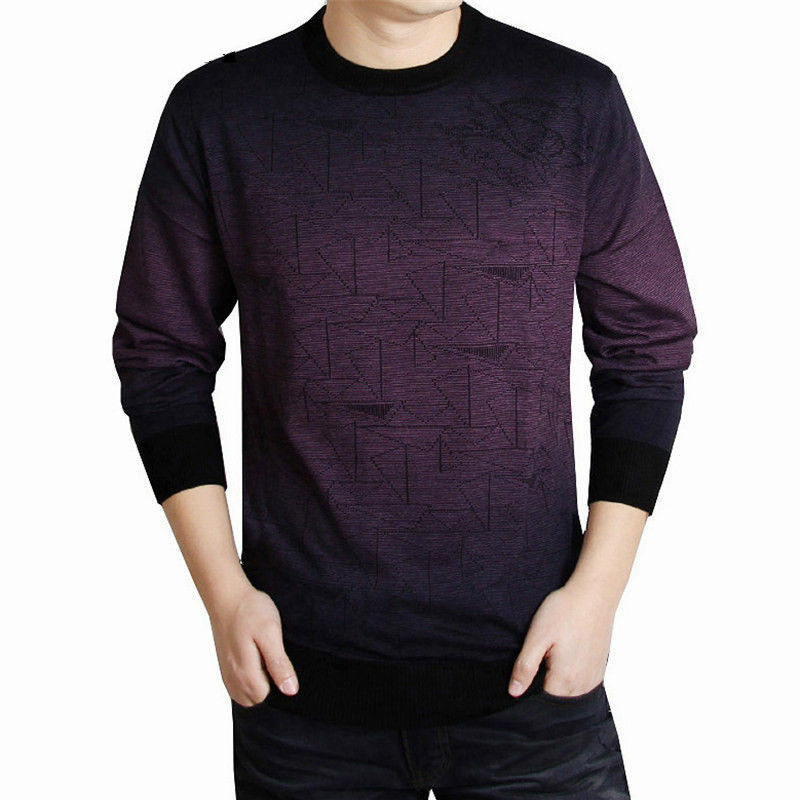 Mens Sweaters Pullover Cashmere Wool Brand-Clothing Autumn Winter Casual Print Round-Collar