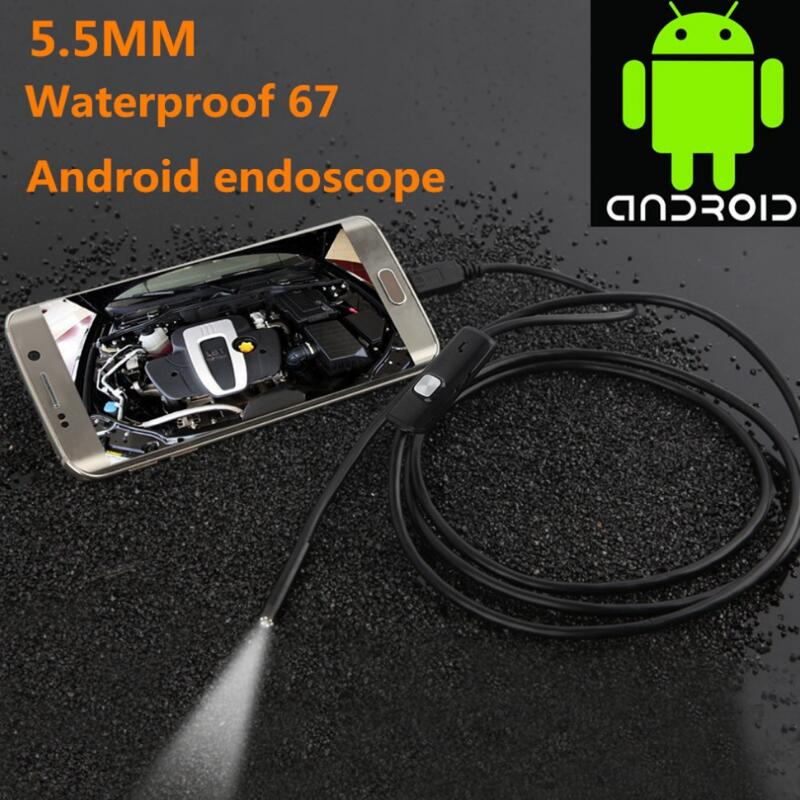 5.5mm Lens USB Endoscope 5M 6 LED IP67 Waterproof Camera Endoscope 1M, Mini Camera Mirror As Gift Android OTG Phone Endoscopio endoscope 8mm usb endoscope android 1m 5m otg pc usb endoscopio mini endoscope camera 720p inspection waterproof phone camera
