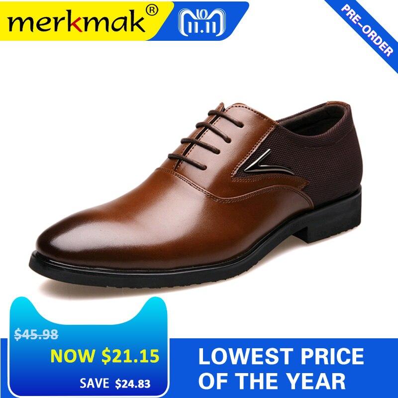 Merkmak Big Size 48 Men Formal Wedding Party Dress Shoes Black Brown  Designer Oxfords Business British 68ffe761ef50