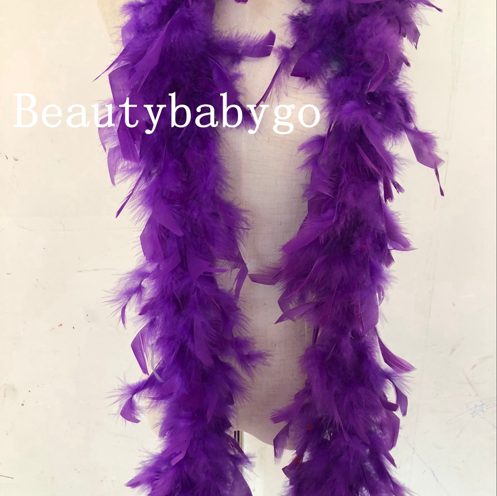 Free shipping 2 yards purple color Dyed turkey feather boas fringes strips for christmas birthday party decorations 40g 60g 80g