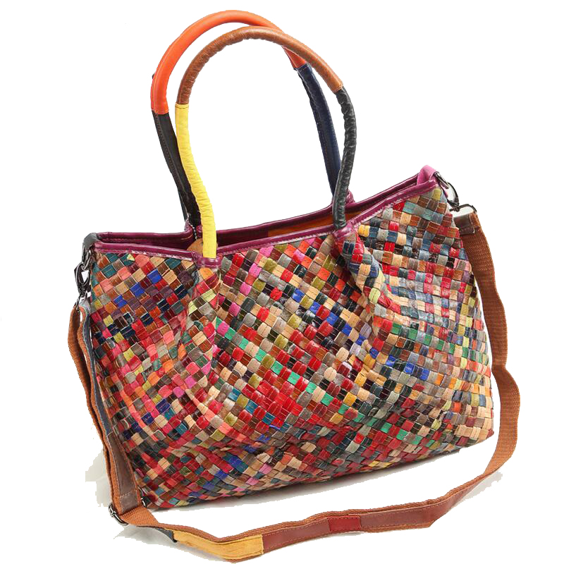New Arrival Women Messenger Bag Woven Top Handbag Colorful Tote Ladies  Woman Bags Handbags Women Famous Brands-in Top-Handle Bags from Luggage    Bags on ... 0e98904166405